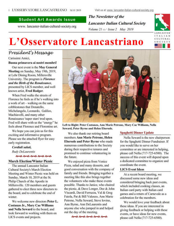 Lancaster Italian Cultural Society - Newsletters